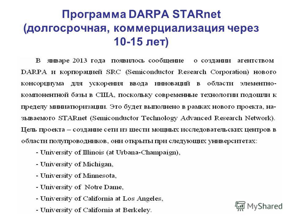 Программа DARPA STARnet (долгосрочная, коммерциализация через 10-15 лет)