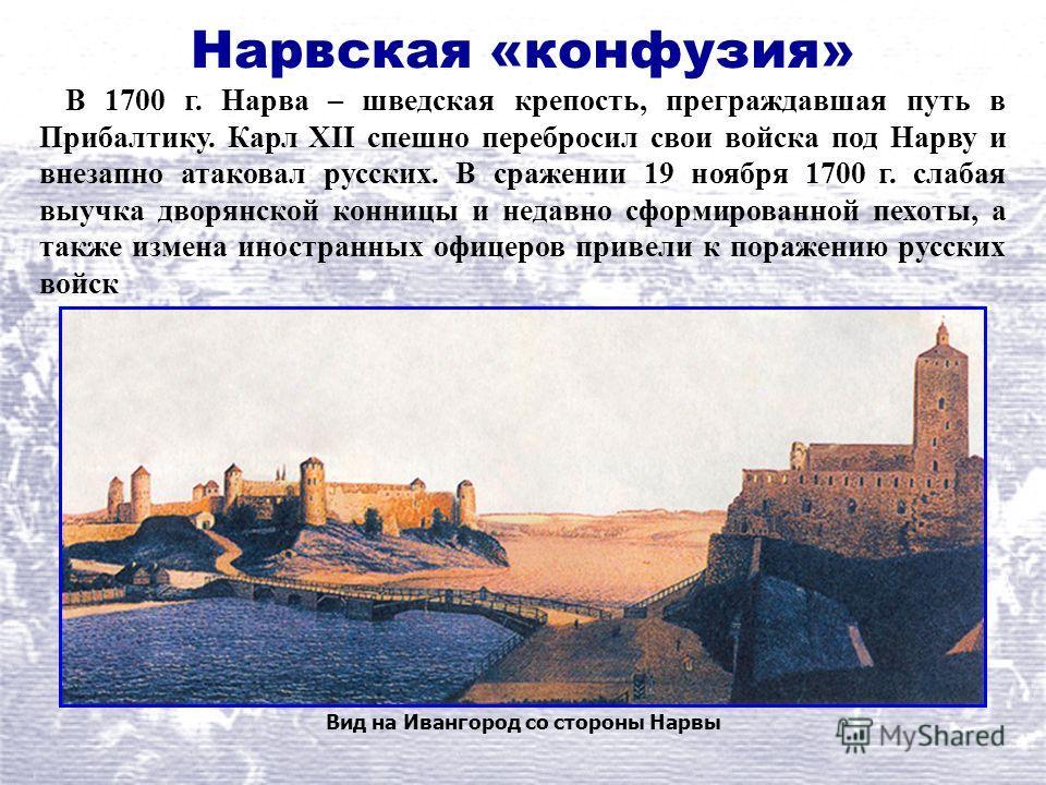 Нарвская «конфузия» Вид на Ивангород со стороны Нарвы В 1700 г. Нарва – шведская крепость, преграждавшая путь в Прибалтику. Карл XII спешно перебросил свои войска под Нарву и внезапно атаковал русских. В сражении 19 ноября 1700 г. слабая выучка дворя