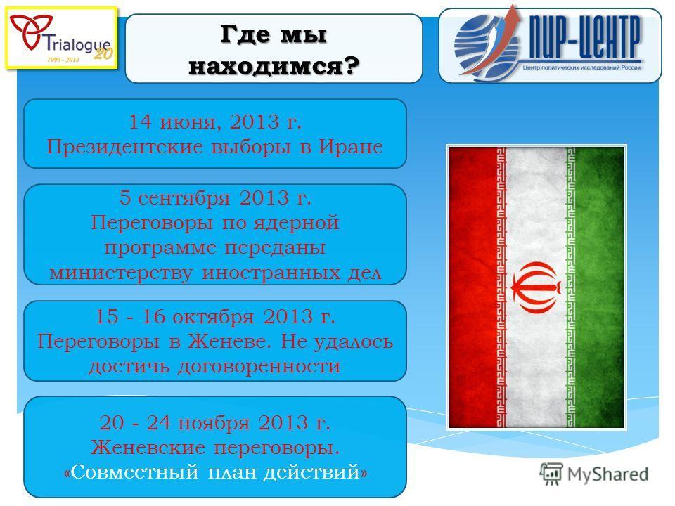14 июня, 2013 г. Президентские выборы в Иране Где мы находимся? 5 сентября 2013 г. Переговоры по ядерной программе переданы министерству иностранных дел 20 - 24 ноября 2013 г. Женевские переговоры. «Совместный план действий» 15 - 16 октября 2013 г. П