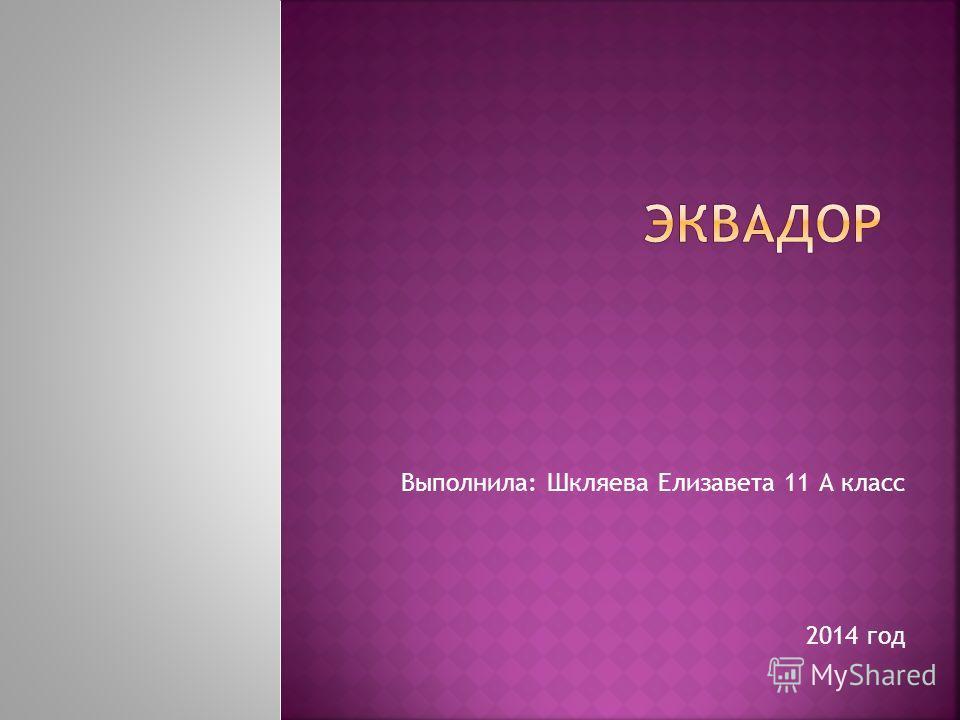 Выполнила: Шкляева Елизавета 11 А класс 2014 год