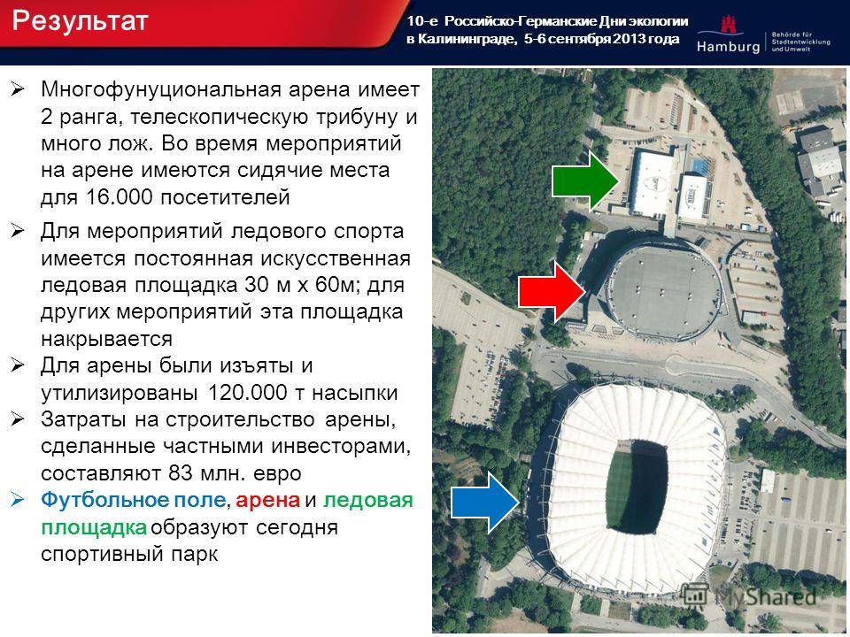 17 10-е Российско-Германские Дни экологии в Калининграде, 5-6 сентября 2013 года Результат Многофунуциональная арена имеет 2 ранга, телескопическую трибуну и много лож. Во время мероприятий на арене имеются сидячие места для 16.000 посетителей Для ме