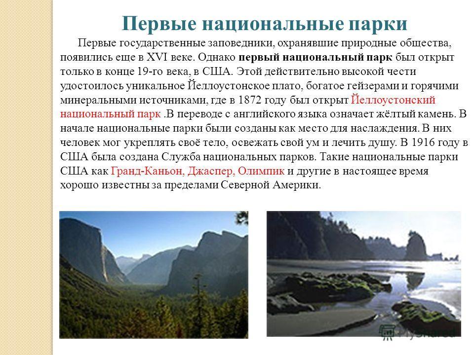 Первые национальные парки Первые государственные заповедники, охранявшие природные общества, появились еще в XVI веке. Однако первый национальный парк был открыт только в конце 19-го века, в США. Этой действительно высокой чести удостоилось уникально