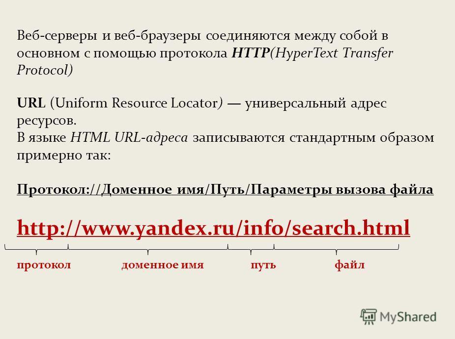 Веб-серверы и веб-браузеры соединяются между собой в основном с помощью протокола НТТР(НуреrТехt Тransfer Protocol) URL (Uniform Resource Locator) универсальный адрес ресурсов. В языке НТМL URL-адреса записываются стандартным образом примерно так: П