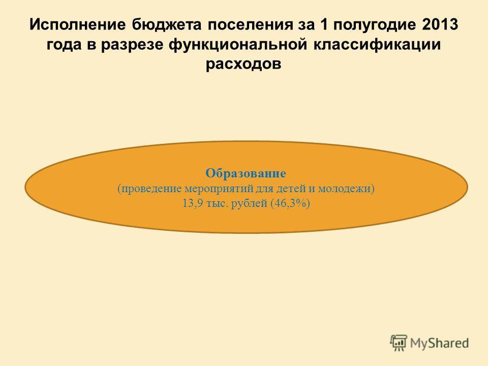 Образование (проведение мероприятий для детей и молодежи) 13,9 тыс. рублей (46,3%) Исполнение бюджета поселения за 1 полугодие 2013 года в разрезе функциональной классификации расходов