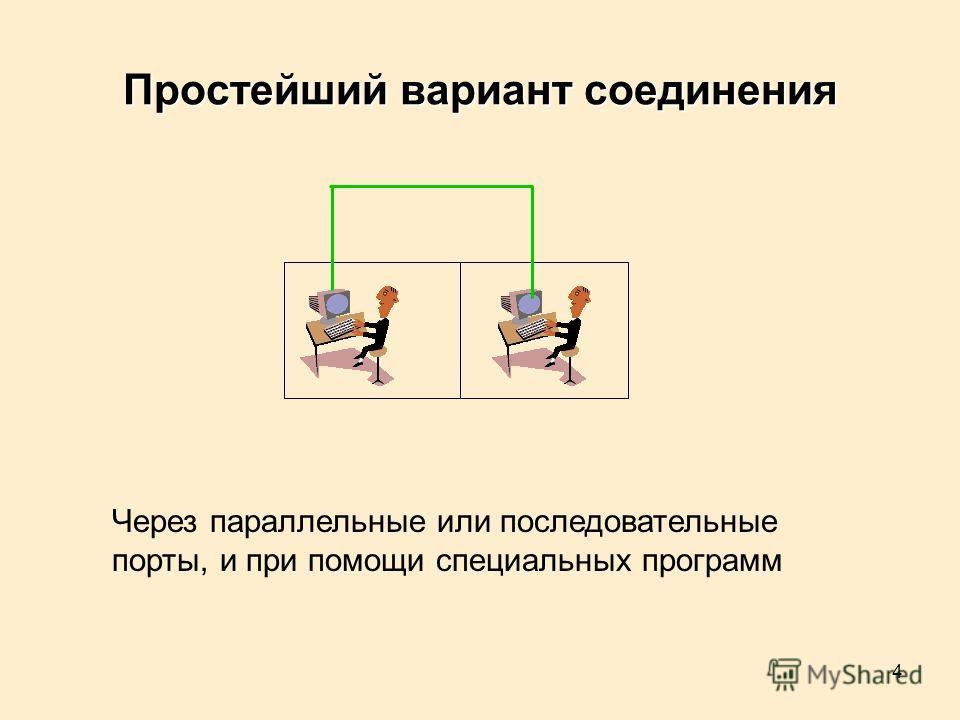 4 Через параллельные или последовательные порты, и при помощи специальных программ Простейший вариант соединения
