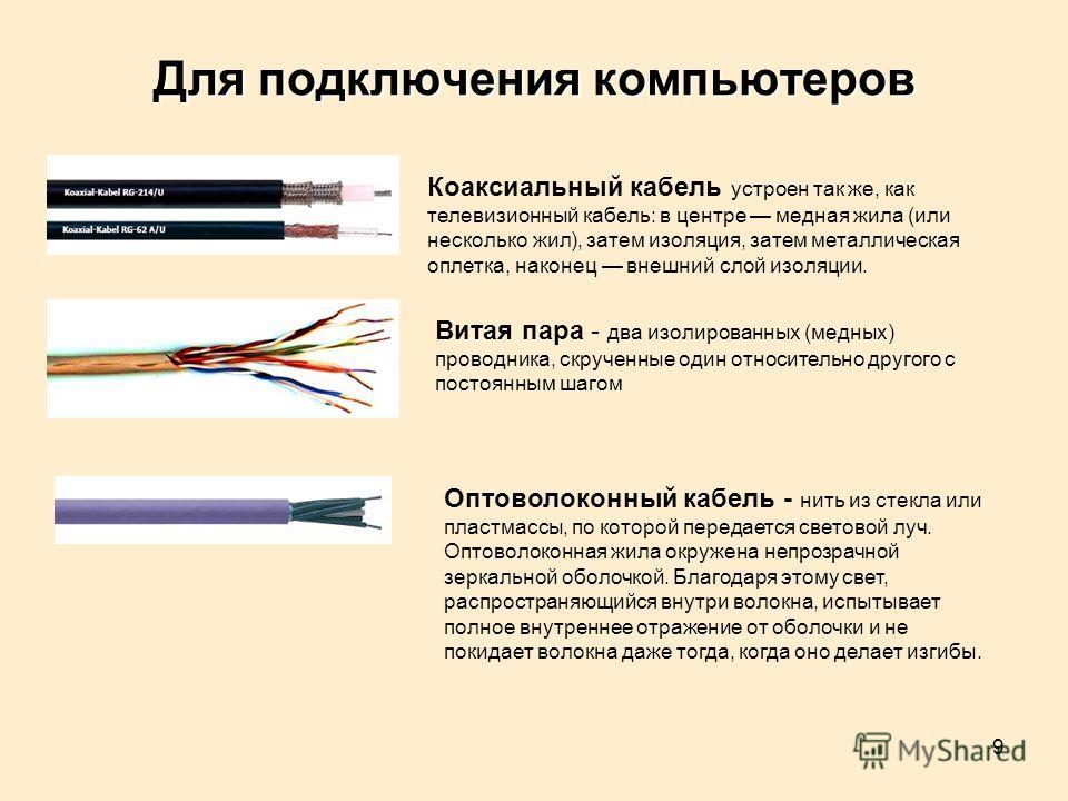 9 Для подключения компьютеров Коаксиальный кабель устроен так же, как телевизионный кабель: в центре медная жила (или несколько жил), затем изоляция, затем металлическая оплетка, наконец внешний слой изоляции. Витая пара - два изолированных (медных)