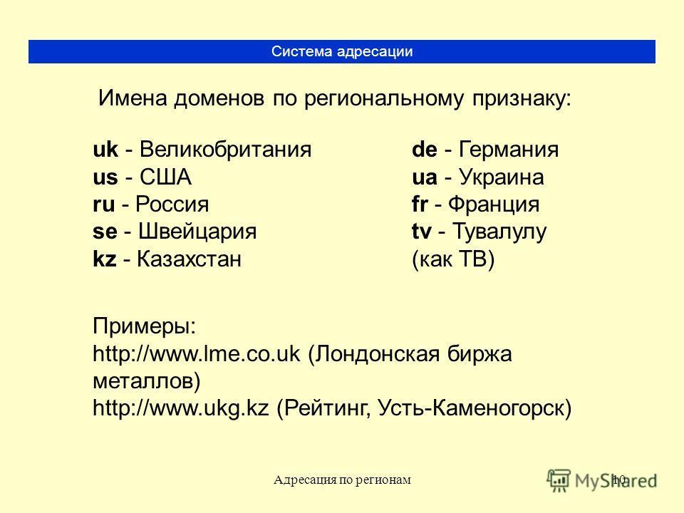 Адресация по регионам10 Система адресации Имена доменов по региональному признаку: uk - Великобритания us - США ru - Россия se - Швейцария kz - Казахстан de - Германия ua - Украина fr - Франция tv - Тувалулу (как ТВ) Примеры: http://www.lme.co.uk (Ло
