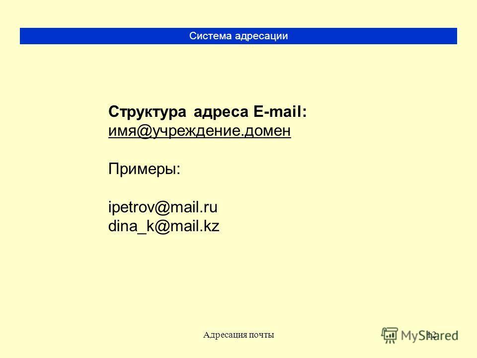 Адресация почты12 Система адресации Структура адреса E-mail: имя@учреждение.домен Примеры: ipetrov@mail.ru dina_k@mail.kz