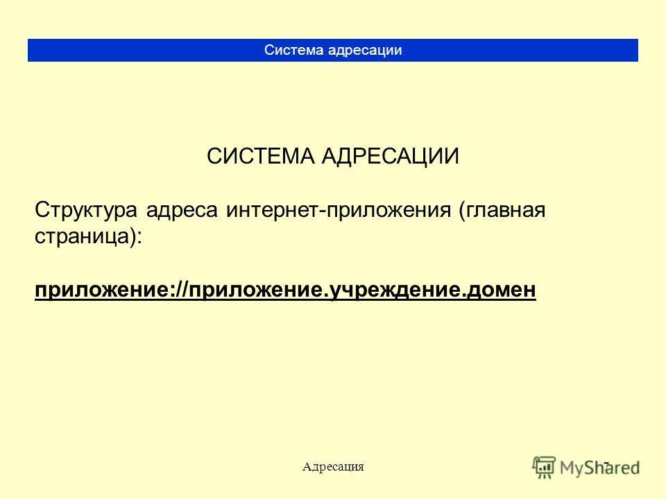 Адресация7 Система адресации СИСТЕМА АДРЕСАЦИИ Структура адреса интернет-приложения (главная страница): приложение://приложение.учреждение.домен