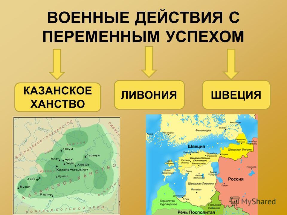 ВОЕННЫЕ ДЕЙСТВИЯ С ПЕРЕМЕННЫМ УСПЕХОМ КАЗАНСКОЕ ХАНСТВО ЛИВОНИЯШВЕЦИЯ