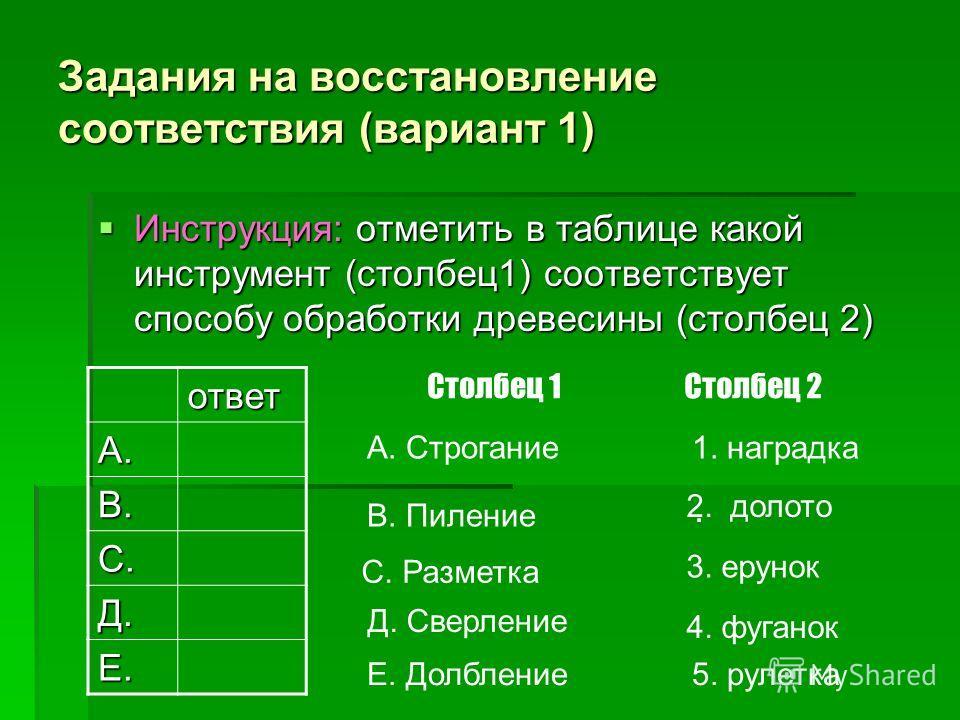 Задания на восстановление соответствия (вариант 1) Инструкция: отметить в таблице какой инструмент (столбец1) соответствует способу обработки древесины (столбец 2) Инструкция: отметить в таблице какой инструмент (столбец1) соответствует способу обраб