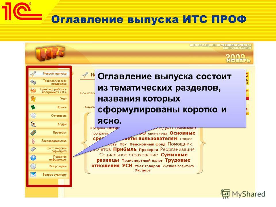 Оглавление выпуска ИТС ПРОФ Оглавление выпуска состоит из тематических разделов, названия которых сформулированы коротко и ясно.