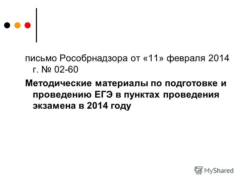 письмо Рособрнадзора от «11» февраля 2014 г. 02-60 Методические материалы по подготовке и проведению ЕГЭ в пунктах проведения экзамена в 2014 году