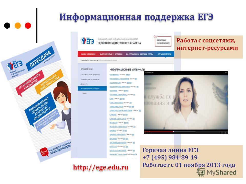 Информационная поддержка ЕГЭ http://ege.edu.ru Горячая линия ЕГЭ +7 (495) 984-89-19 Работает с 01 ноября 2013 года Работа с соцсетями, интернет-ресурсами
