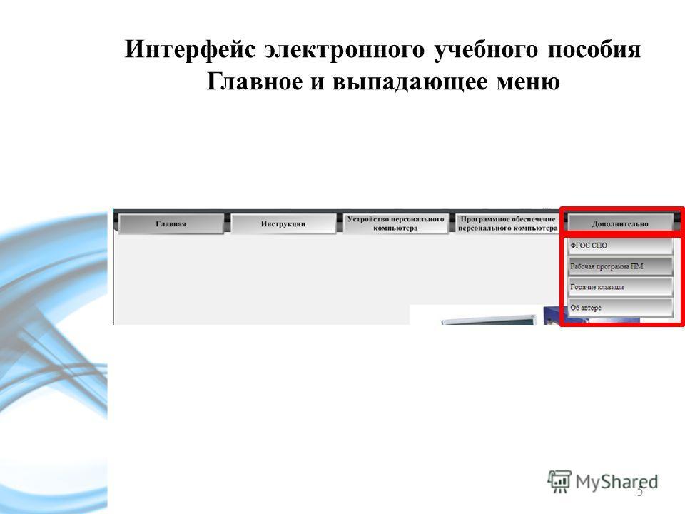 5 Интерфейс электронного учебного пособия Главное и выпадающее меню