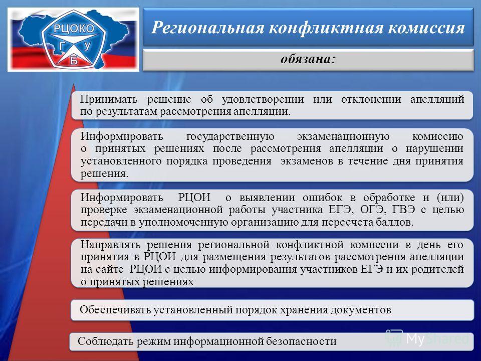 Региональная конфликтная комиссия обязана: Обеспечивать установленный порядок хранения документов Информировать РЦОИ о выявлении ошибок в обработке и (или) проверке экзаменационной работы участника ЕГЭ, ОГЭ, ГВЭ с целью передачи в уполномоченную орга