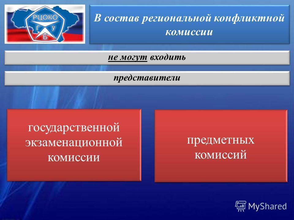 В состав региональной конфликтной комиссии государственной экзаменационной комиссии предметных комиссий не могут входить представители