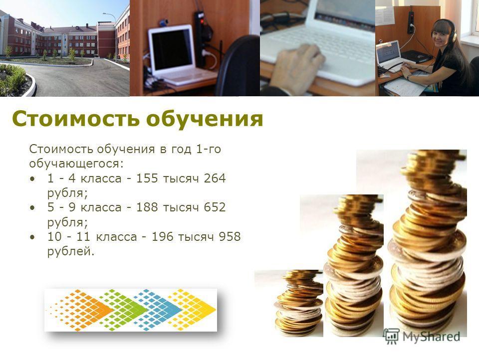 Стоимость обучения Стоимость обучения в год 1-го обучающегося: 1 - 4 класса - 155 тысяч 264 рубля; 5 - 9 класса - 188 тысяч 652 рубля; 10 - 11 класса - 196 тысяч 958 рублей.