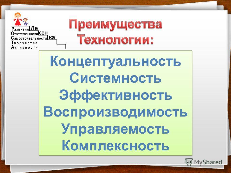 Концептуальность Системность Эффективность Воспроизводимость Управляемость Комплексность Концептуальность Системность Эффективность Воспроизводимость Управляемость Комплексность