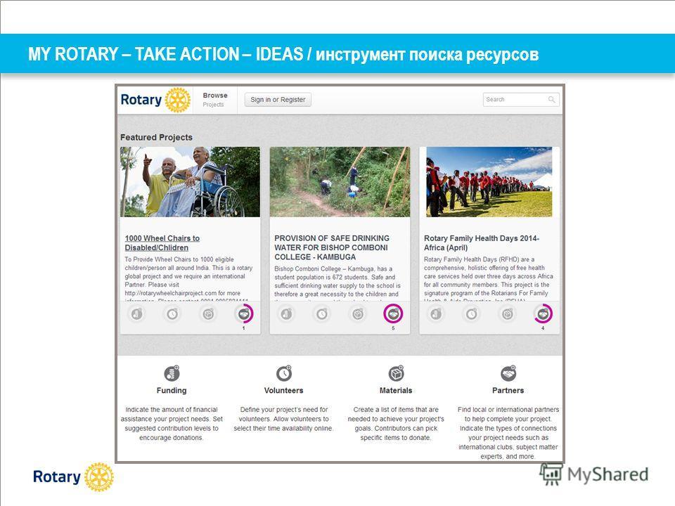 MY ROTARY – TAKE ACTION – IDEAS / инструмент поиска ресурсов