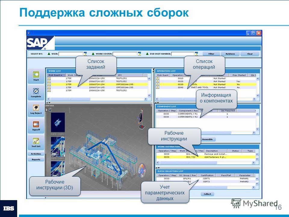 16 Поддержка сложных сборок Список заданий Список операций Информация о компонентах Рабочие инструкции Рабочие инструкции Учет параметрических данных Рабочие инструкции (3D)