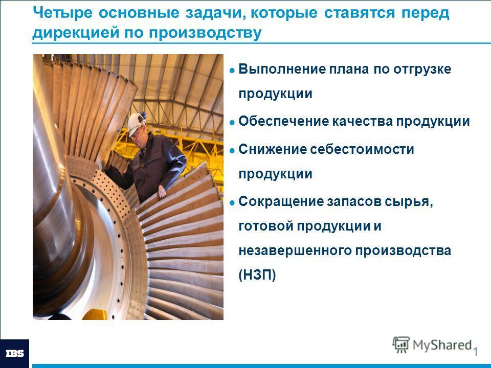 1 Четыре основные задачи, которые ставятся перед дирекцией по производству Выполнение плана по отгрузке продукции Обеспечение качества продукции Снижение себестоимости продукции Сокращение запасов сырья, готовой продукции и незавершенного производств