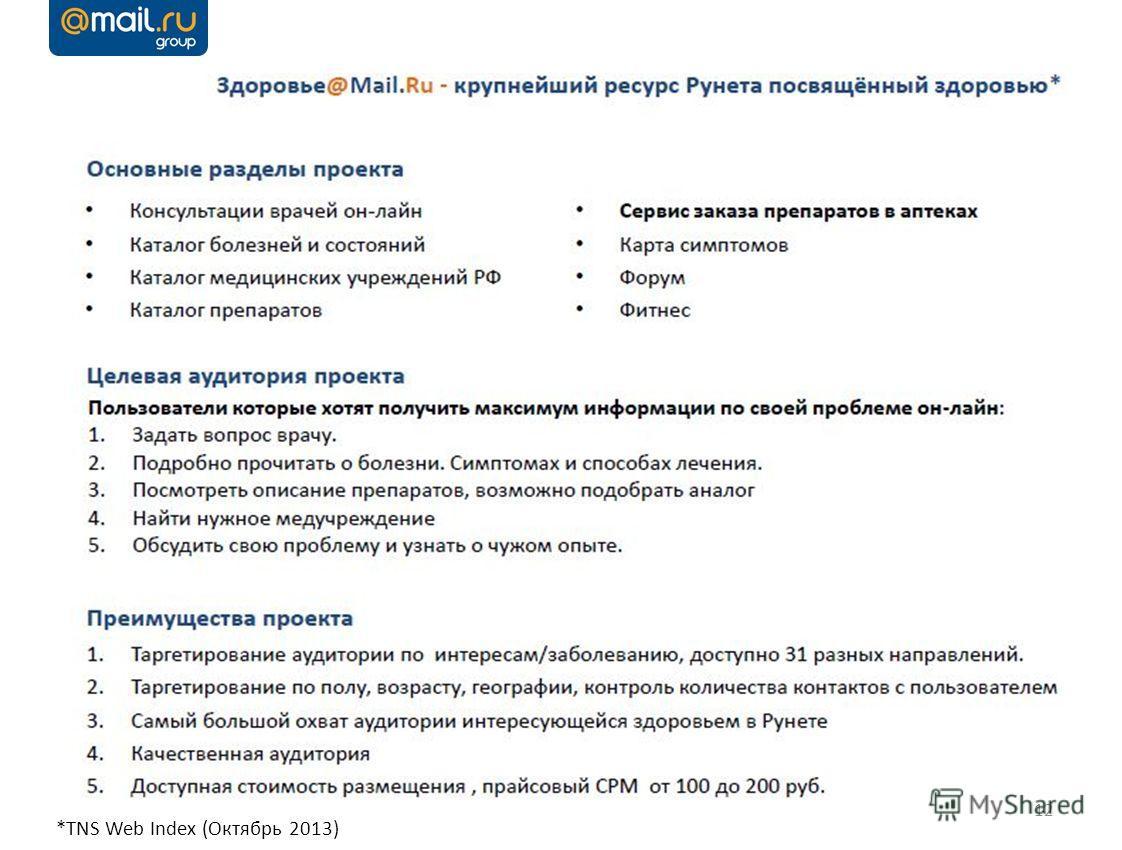 12 *TNS Web Index (Октябрь 2013)