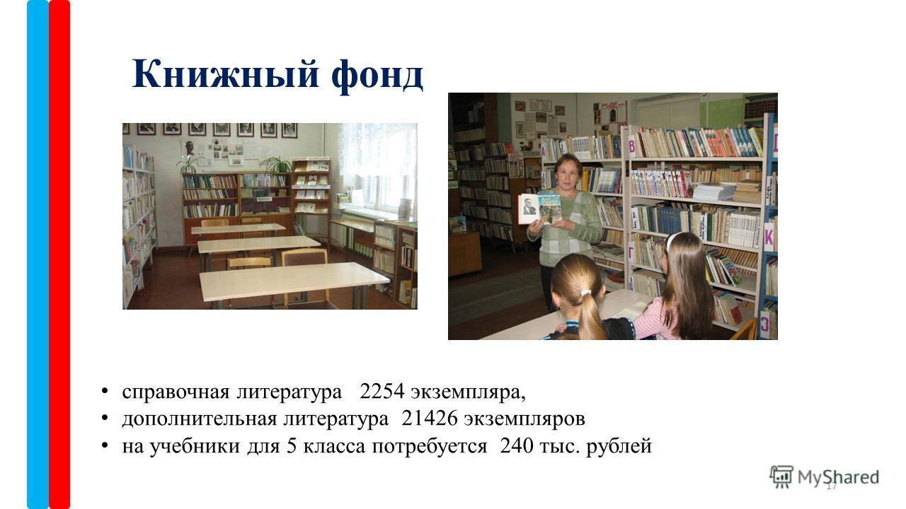 Книжный фонд 17 справочная литература 2254 экземпляра, дополнительная литература 21426 экземпляров на учебники для 5 класса потребуется 240 тыс. рублей