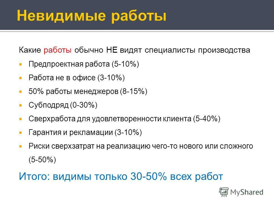 Какие работы обычно НЕ видят специалисты производства Предпроектная работа (5-10%) Работа не в офисе (3-10%) 50% работы менеджеров (8-15%) Субподряд (0-30%) Сверхработа для удовлетворенности клиента (5-40%) Гарантия и рекламации (3-10%) Риски сверхза