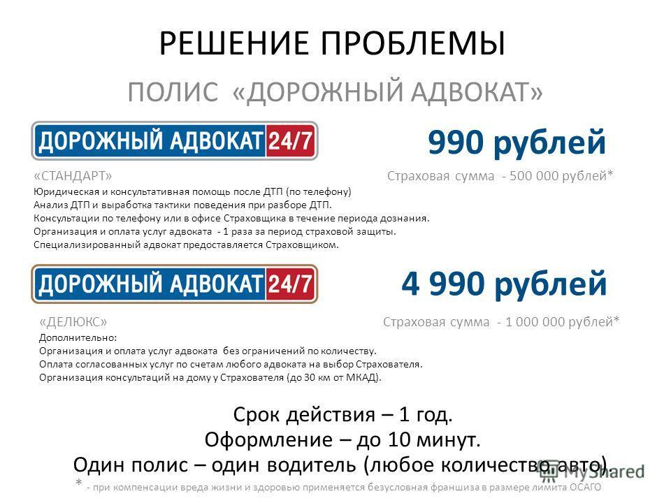 РЕШЕНИЕ ПРОБЛЕМЫ ПОЛИС «ДОРОЖНЫЙ АДВОКАТ» Срок действия – 1 год. Оформление – до 10 минут. Один полис – один водитель (любое количество авто). 990 рублей 4 990 рублей «СТАНДАРТ» Страховая сумма - 500 000 рублей* Юридическая и консультативная помощь п