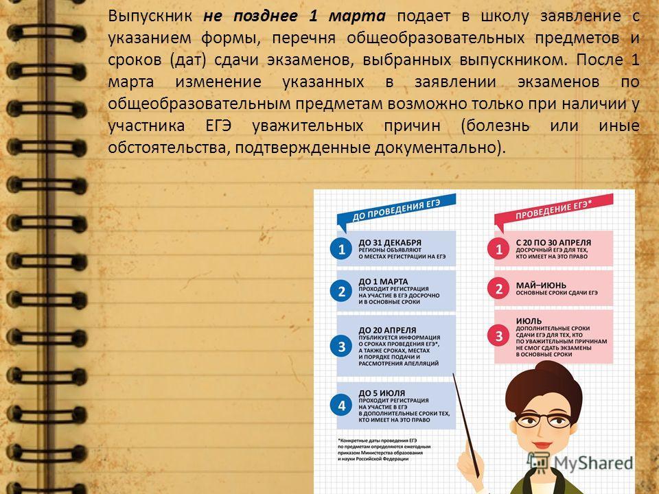 Выпускник не позднее 1 марта подает в школу заявление с указанием формы, перечня общеобразовательных предметов и сроков (дат) сдачи экзаменов, выбранных выпускником. После 1 марта изменение указанных в заявлении экзаменов по общеобразовательным предм