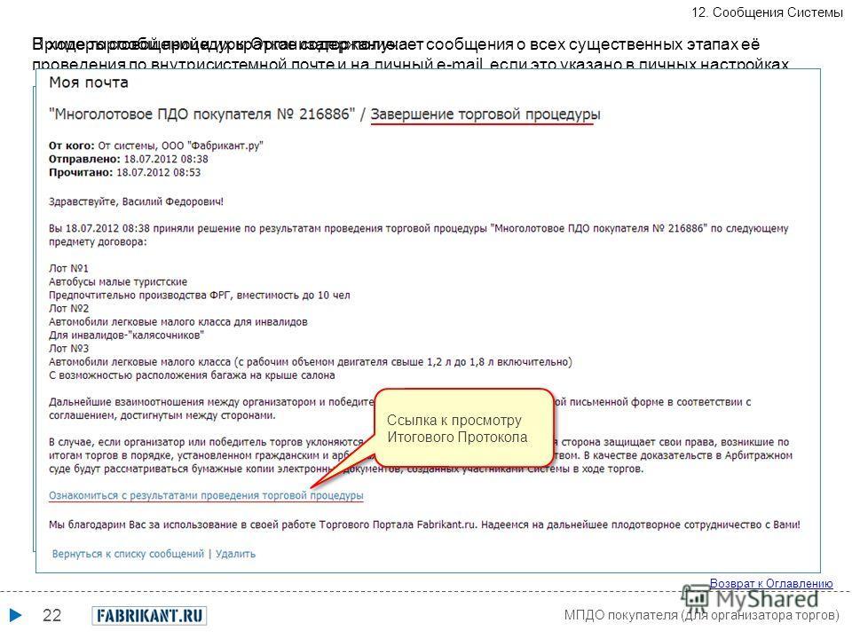 22 МПДО покупателя (для организатора торгов) Возврат к Оглавлению 12. Сообщения Системы В ходе торговой процедуры Организатор получает сообщения о всех существенных этапах её проведения по внутрисистемной почте и на личный e-mail, если это указано в