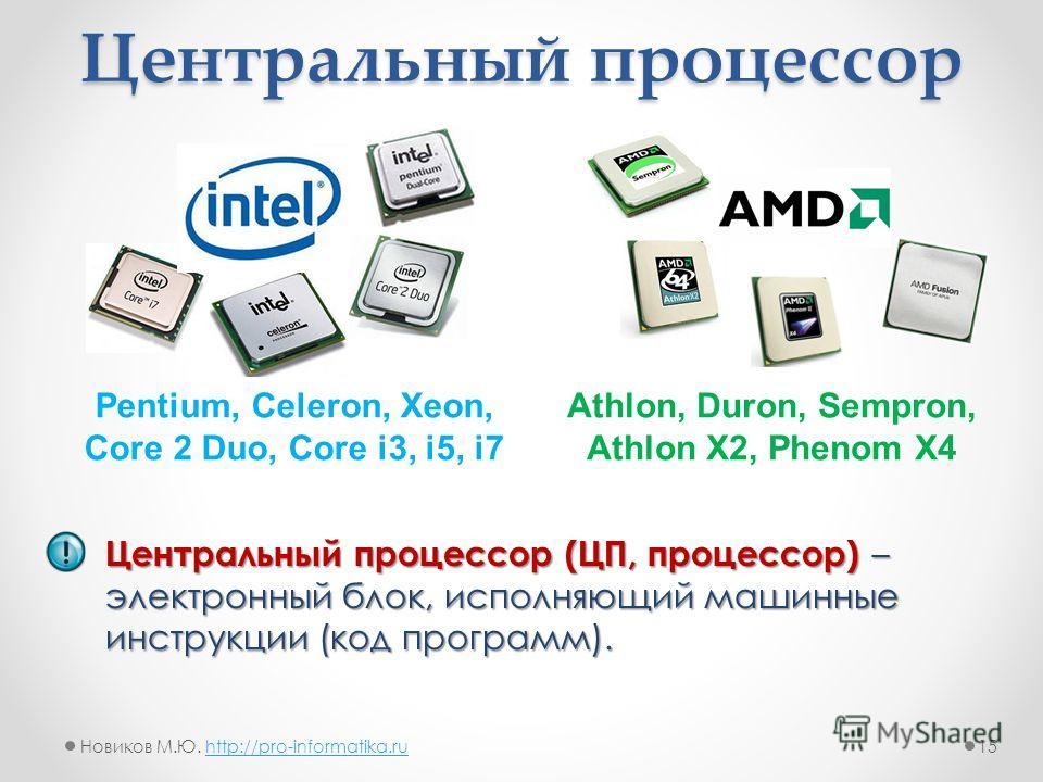 Центральный процессор Центральный процессор (ЦП, процессор) – электронный блок, исполняющий машинные инструкции (код программ). Pentium, Celeron, Xeon, Core 2 Duo, Core i3, i5, i7 Athlon, Duron, Sempron, Athlon X2, Phenom X4 15Новиков М.Ю. http://pro