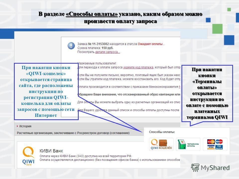 В разделе «Способы оплаты» указано, каким образом можно произвести оплату запроса При нажатии кнопки «QIWI-кошелек» открывается страница сайта, где расположены инструкции по регистрации QIWI- кошелька для оплаты запросов с помощью сети Интернет При н