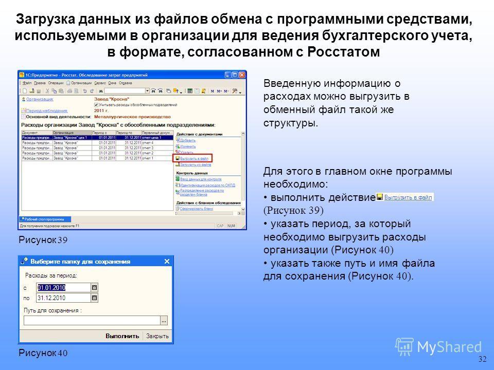 Введенную информацию о расходах можно выгрузить в обменный файл такой же структуры. 32 Рисунок 39 Для этого в главном окне программы необходимо: выполнить действие (Рисунок 39) указать период, за который необходимо выгрузить расходы организации (Рису