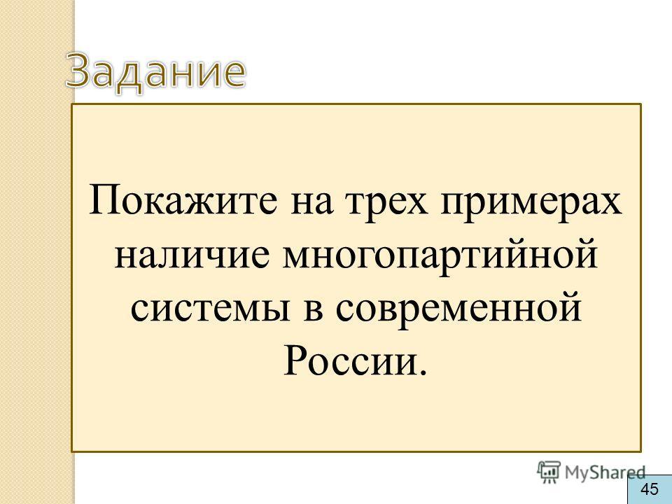 Покажите на трех примерах наличие многопартийной системы в современной России. 45
