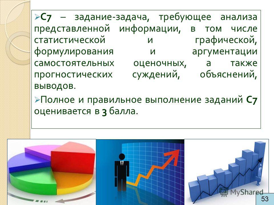 С 7 – задание - задача, требующее анализа представленной информации, в том числе статистической и графической, формулирования и аргументации самостоятельных оценочных, а также прогностических суждений, объяснений, выводов. Полное и правильное выполне