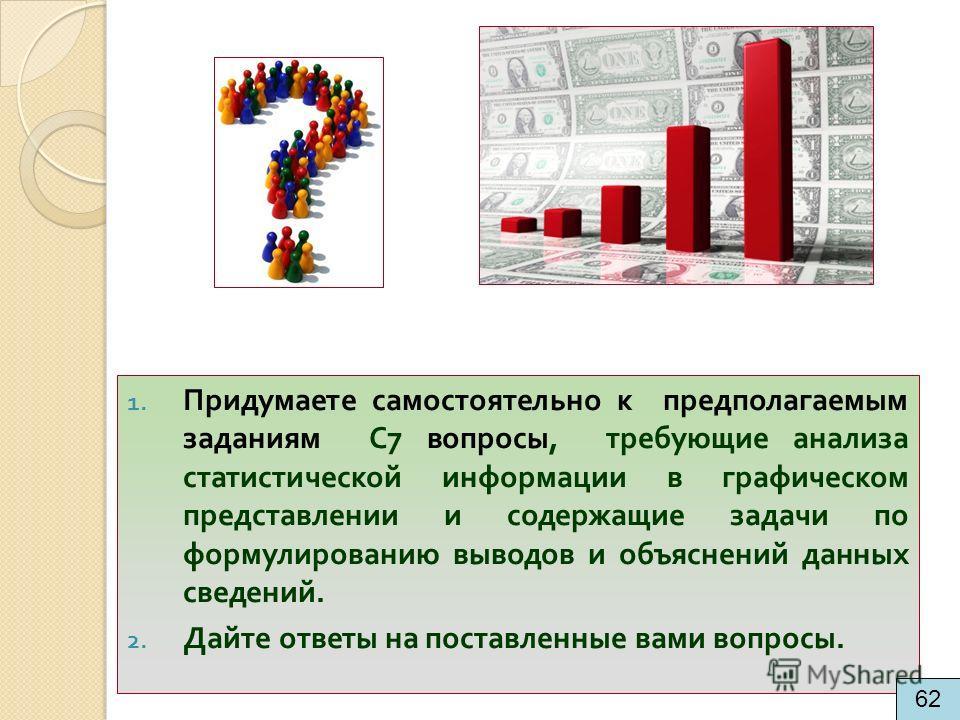 1. Придумаете самостоятельно к предполагаемым заданиям С 7 вопросы, требующие анализа статистической информации в графическом представлении и содержащие задачи по формулированию выводов и объяснений данных сведений. 2. Дайте ответы на поставленные ва