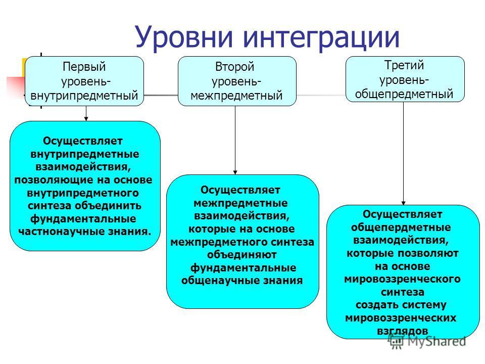 Уровни интеграции Первый уровень- внутрипредметный Третий уровень- общепредметный Второй уровень- межпредметный Осуществляет внутрипредметные взаимодействия, позволяющие на основе внутрипредметного синтеза объединить фундаментальные частнонаучные зна