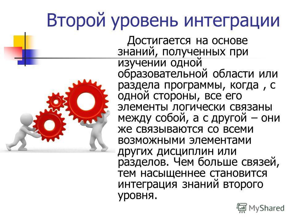 Второй уровень интеграции Достигается на основе знаний, полученных при изучении одной образовательной области или раздела программы, когда, с одной стороны, все его элементы логически связаны между собой, а с другой – они же связываются со всеми возм