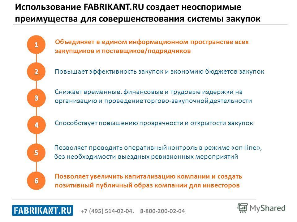 Использование FABRIKANT.RU создает неоспоримые преимущества для совершенствования системы закупок +7 (495) 514-02-04, 8-800-200-02-04 Позволяет увеличить капитализацию компании и создать позитивный публичный образ компании для инвесторов Объединяет в