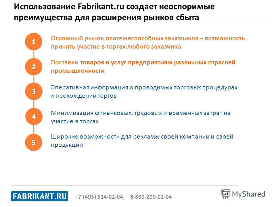 Использование Fabrikant.ru создает неоспоримые преимущества для расширения рынков сбыта +7 (495) 514-02-04, 8-800-200-02-04 Минимизация финансовых, трудовых и временных затрат на участие в торгах Поставки товаров и услуг предприятиям различных отрасл
