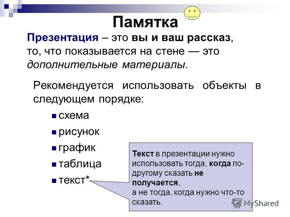 Памятка Рекомендуется использовать объекты в следующем порядке: схема рисунок график таблица текст* Презентация – это вы и ваш рассказ, то, что показывается на стене это дополнительные материалы. Текст в презентации нужно использовать тогда, когда по