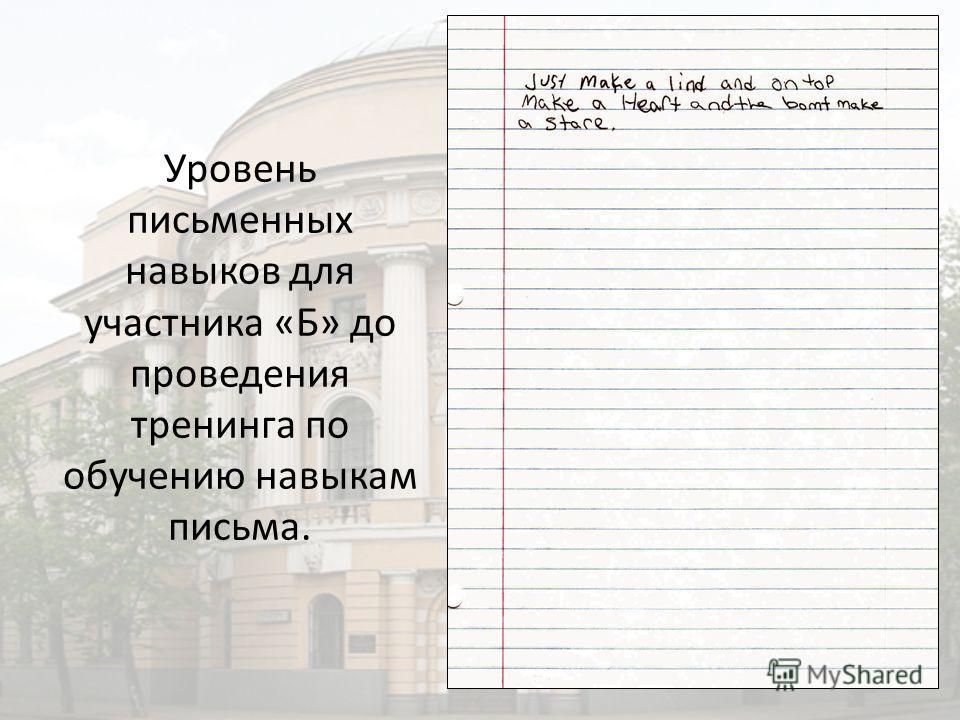 Уровень письменных навыков для участника «Б» до проведения тренинга по обучению навыкам письма.