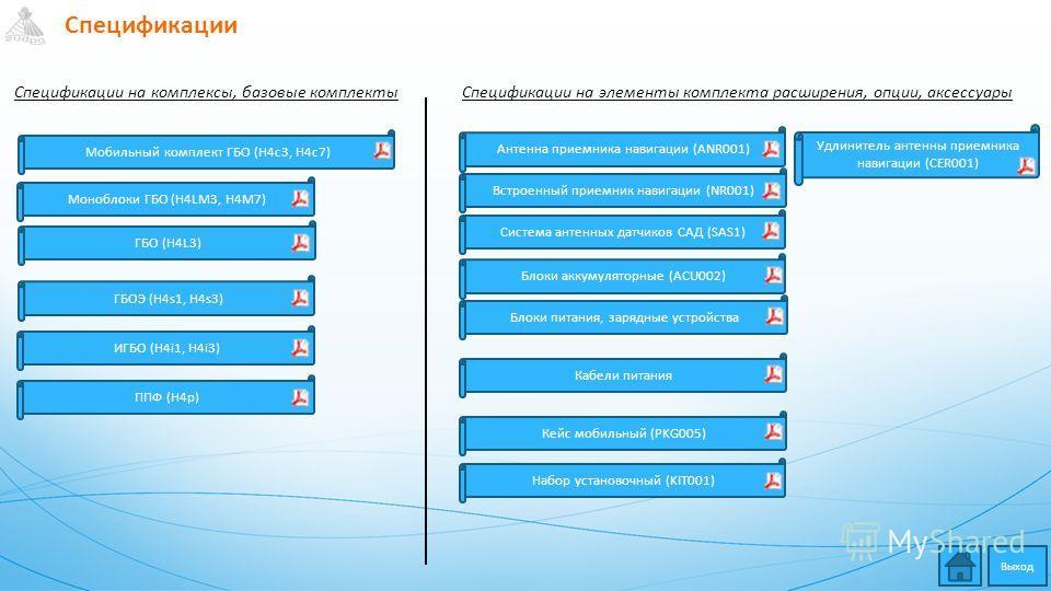 Спецификации Набор установочный (KIT001) Блоки питания, зарядные устройства Моноблоки ГБО (H4LM3, H4M7) Блоки аккумуляторные (ACU002) Система антенных датчиков САД (SAS1) ГБОЭ (H4s1, H4s3) ГБО (H4L3) ИГБО (H4i1, H4i3) ППФ (H4p) Антенна приемника нави