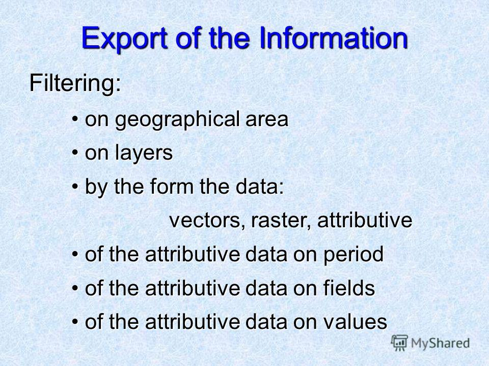 Export of the Information Filtering: Filtering: on geographical area on geographical area on layers on layers by the form the data: vectors, raster, attributive by the form the data: vectors, raster, attributive of the attributive data on period of t