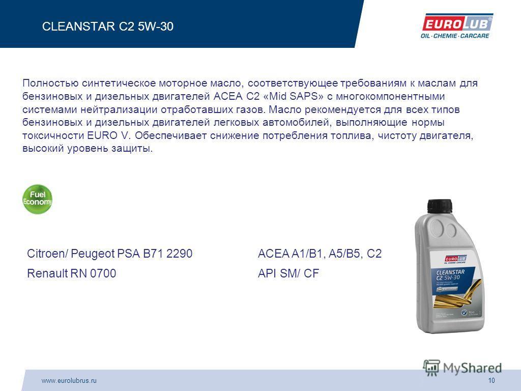 www.eurolubrus.ru10 CLEANSTAR C2 5W-30 Полностью синтетическое моторное масло, соответствующее требованиям к маслам для бензиновых и дизельных двигателей АСЕА С2 «Mid SAPS» с многокомпонентными системами нейтрализации отработавших газов. Масло рекоме
