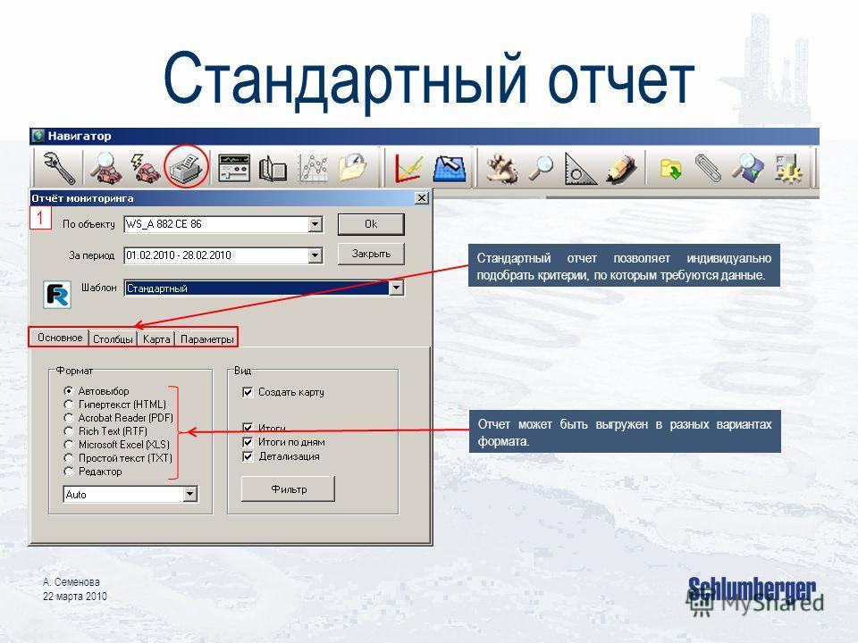 Стандартный отчет А. Семенова 22 марта 2010 Стандартный отчет позволяет индивидуально подобрать критерии, по которым требуются данные. Отчет может быть выгружен в разных вариантах формата. 1