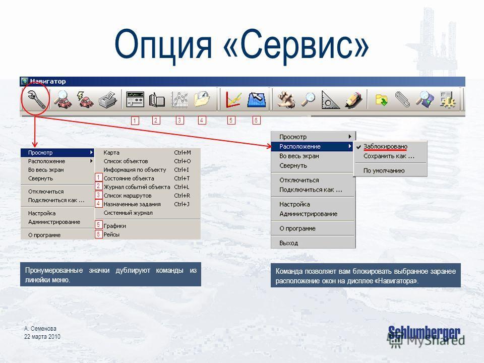 Опция «Сервис» А. Семенова 22 марта 2010 1 2 3 1 23 4 4 5 5 6 6 Пронумерованные значки дублируют команды из линейки меню. Команда позволяет вам блокировать выбранное заранее расположение окон на дисплее «Навигатора».