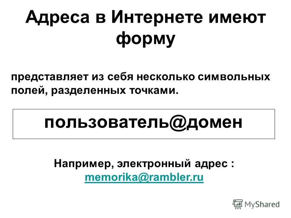 Адреса в Интернете имеют форму пользователь@домен представляет из себя несколько символьных полей, разделенных точками. Например, электронный адрес : memorika@rambler.ru memorika@rambler.ru